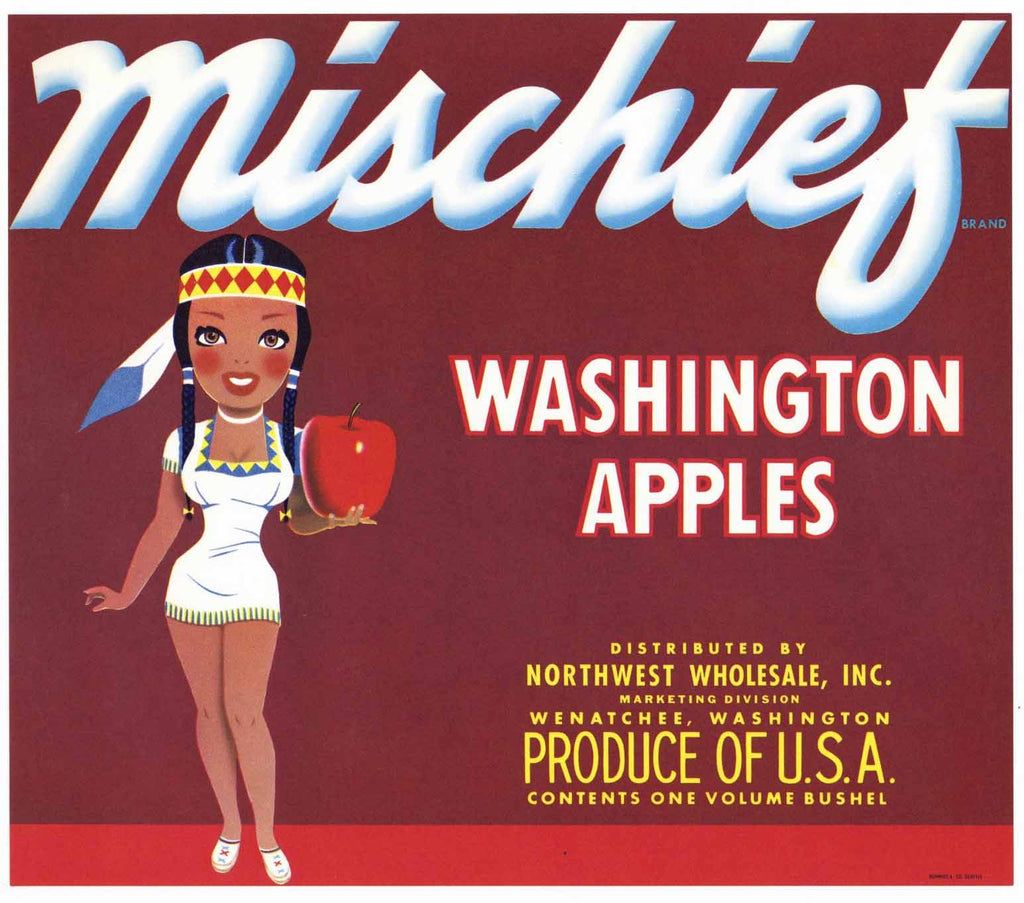 Mischief Brand Vintage Northwest Apple Crate Label