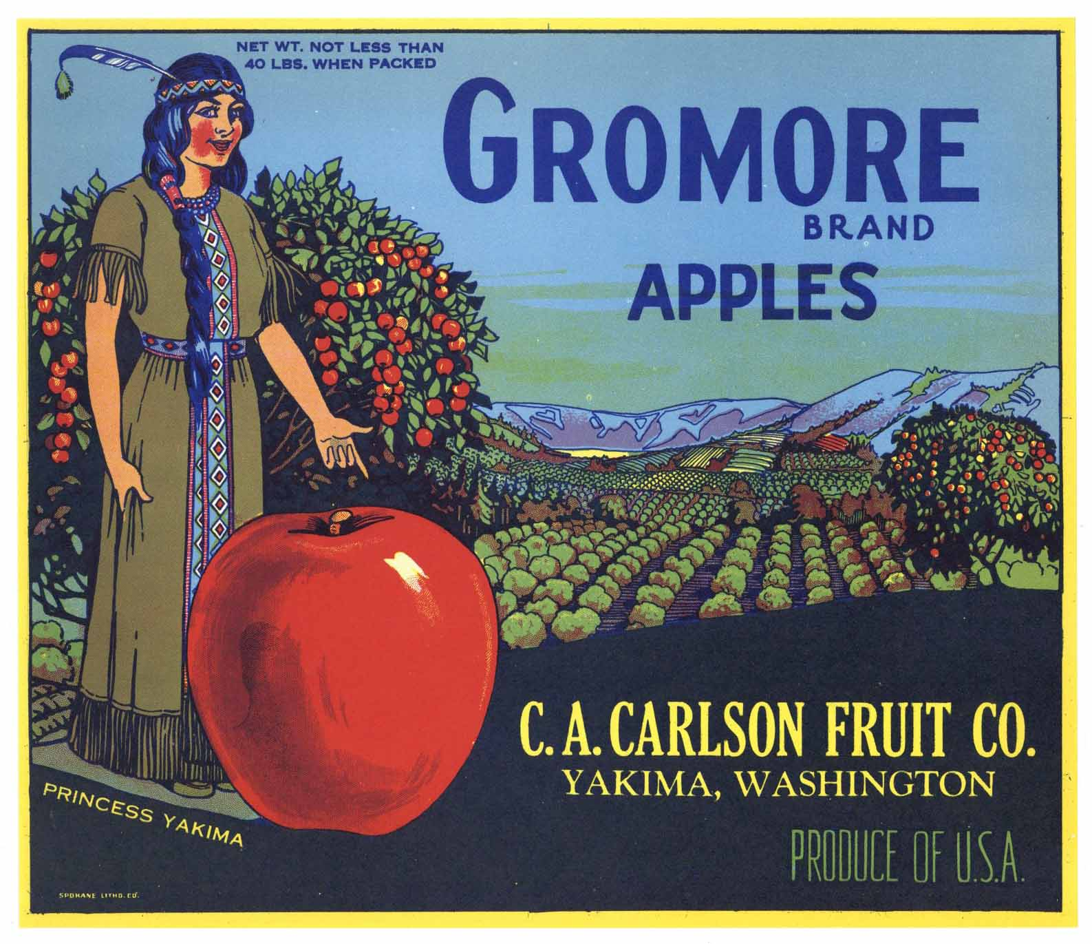 Gromore Brand Vintage Yakima Washington Apple Crate Label