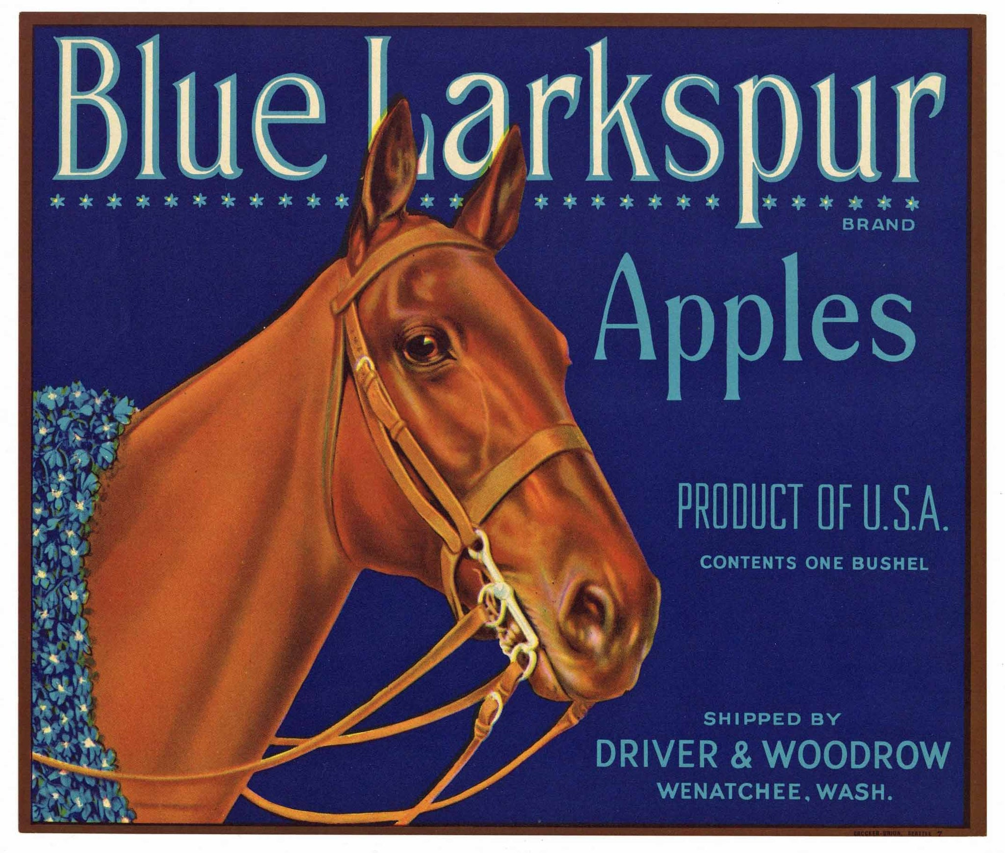 Blue Larkspur Brand Vintage Washington Apple Crate Label