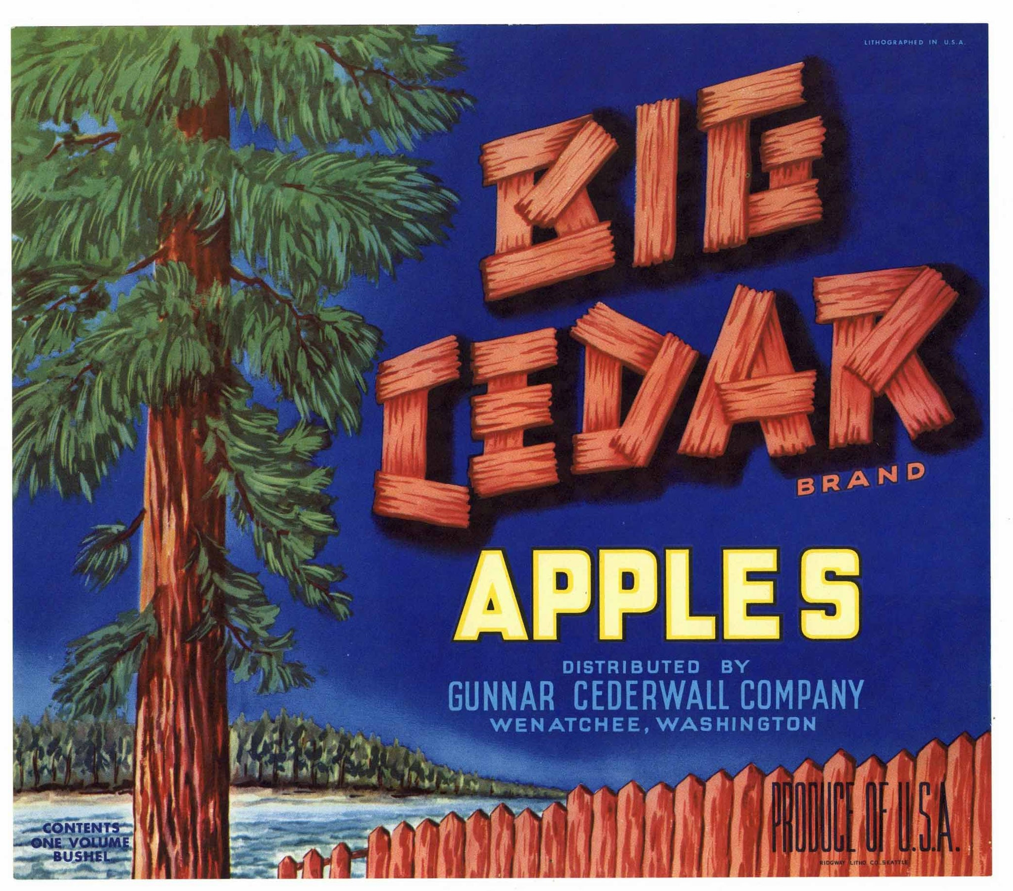 Big Cedar Brand Vintage Wenatchee Washington Apple Crate Label