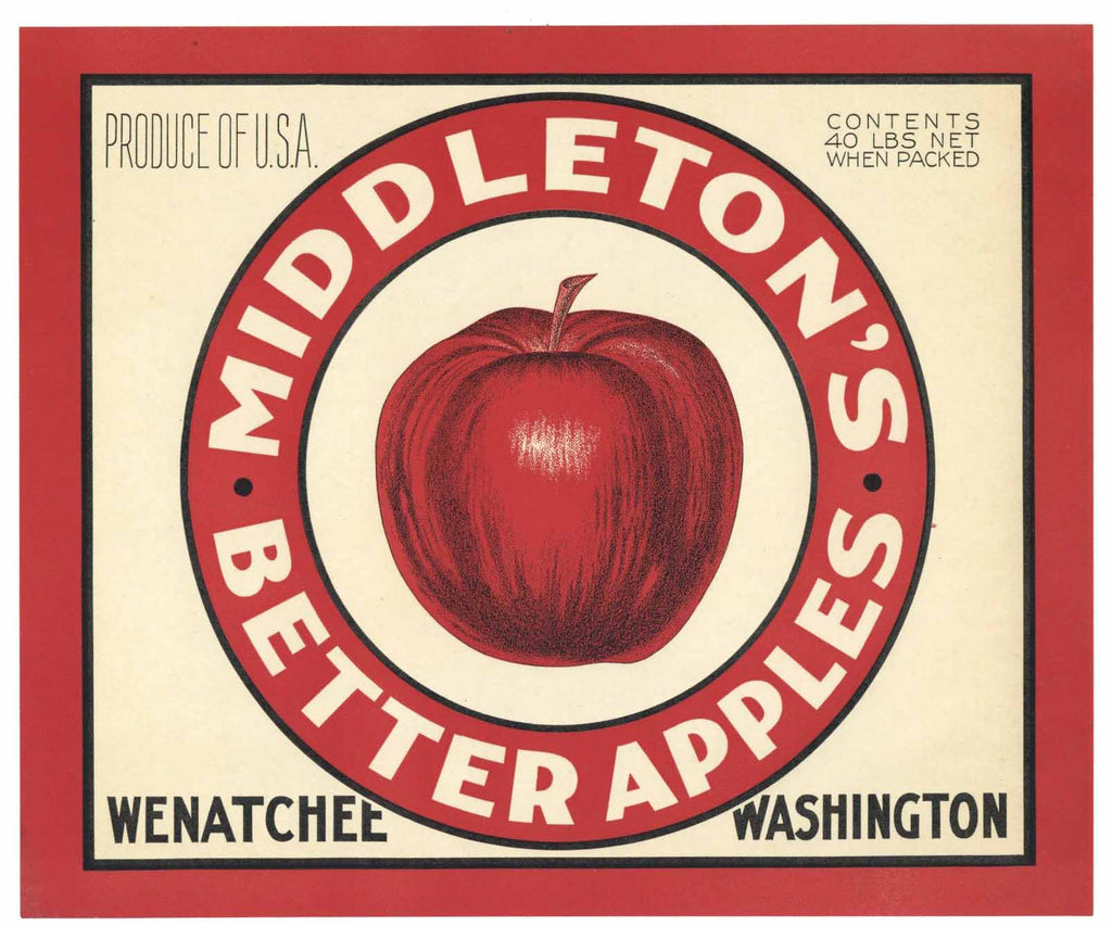 Middleton's Brand Vintage Wenatchee Washington Apple Crate Label