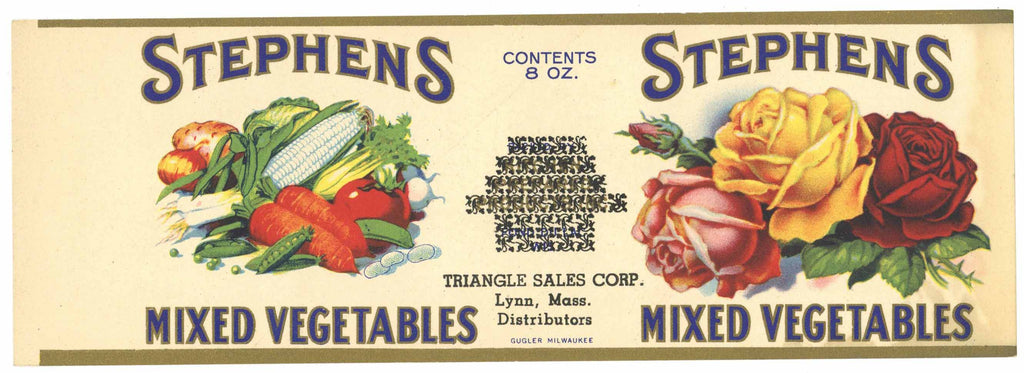 Stephens Brand Vintage Mixed Vegetables Can Label