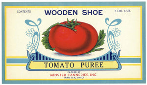 Wooden Shoe Brand Vintage Minster Ohio Tomato Can Label
