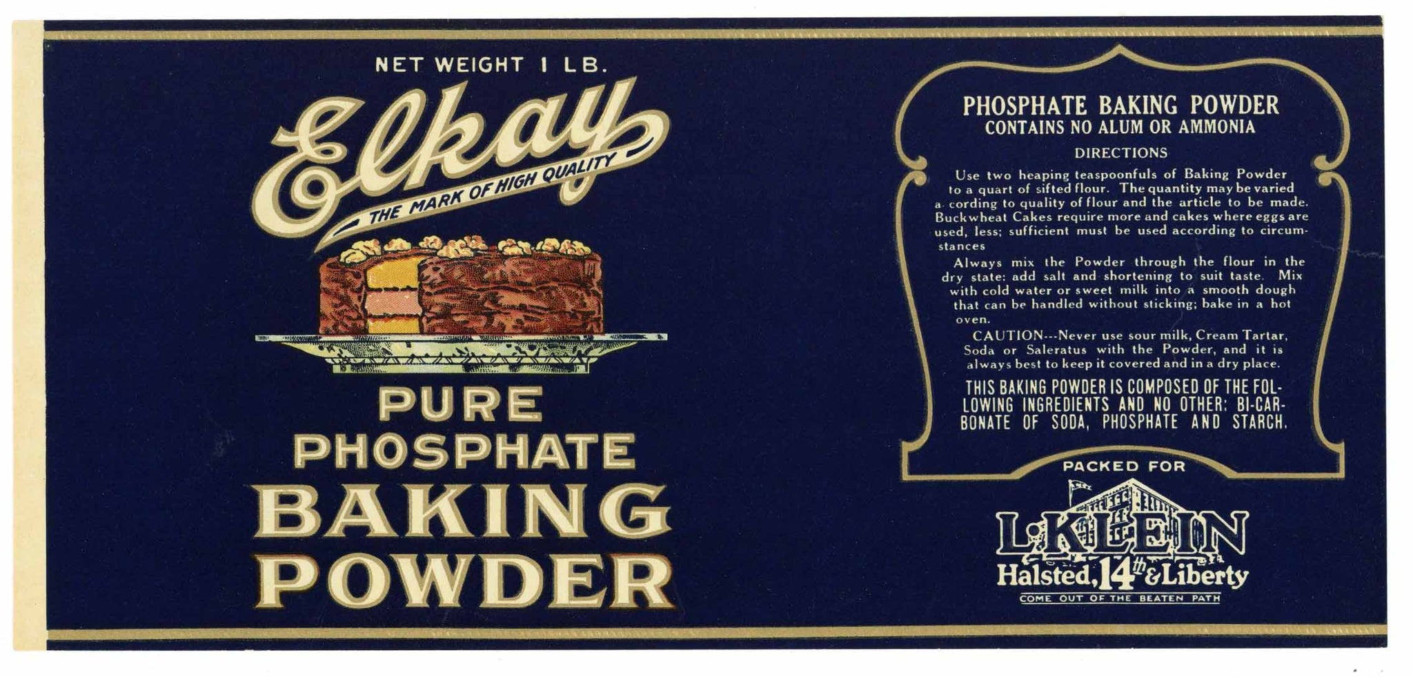 Elkay Brand Vintage Baking Powder Can Label
