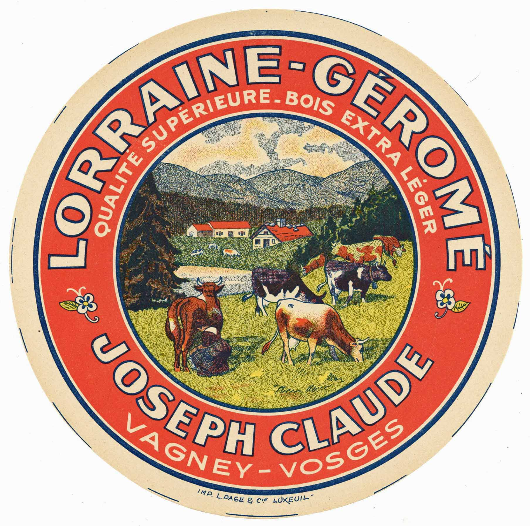 Lorraine-Gerome Brand Vintage French Cheese Label