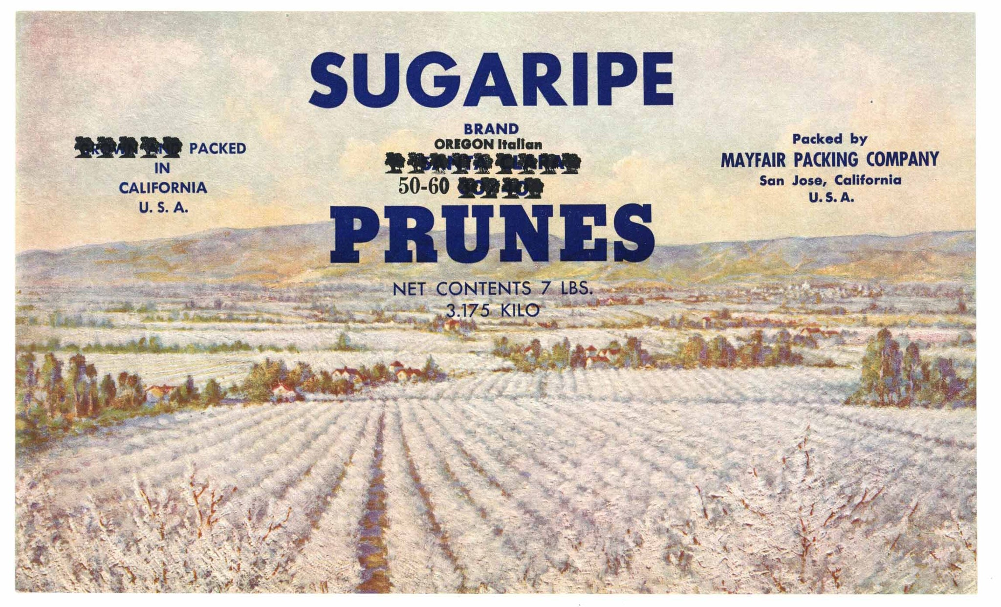 Sugaripe Brand Vintage San Jose Prune Can Label