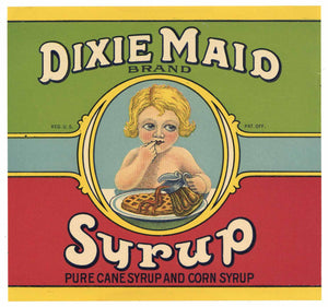 Dixie Maid Brand Vintage Georgia Cane Syrup Can Label, square