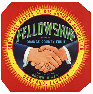 Fellowship Brand Vintage Florida Citrus Crate Label