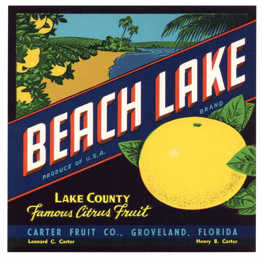 Beach Lake Brand Vintage Groveland Florida Citrus Crate Label