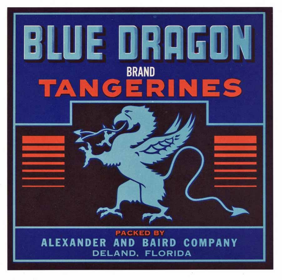 Blue Dragon Brand Vintage Deland Florida Citrus Crate Label 7x7