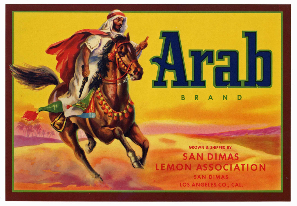 Arab Brand Vintage San Dimas Lemon Crate Label