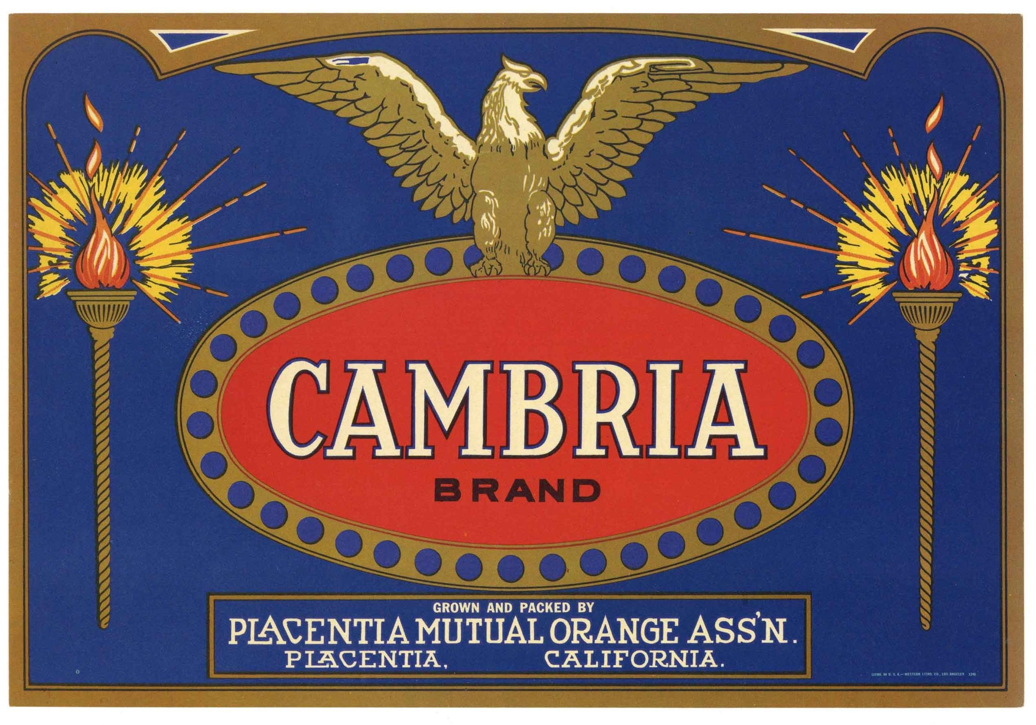 Cambria Brand Vintage Placentia Lemon Crate Label
