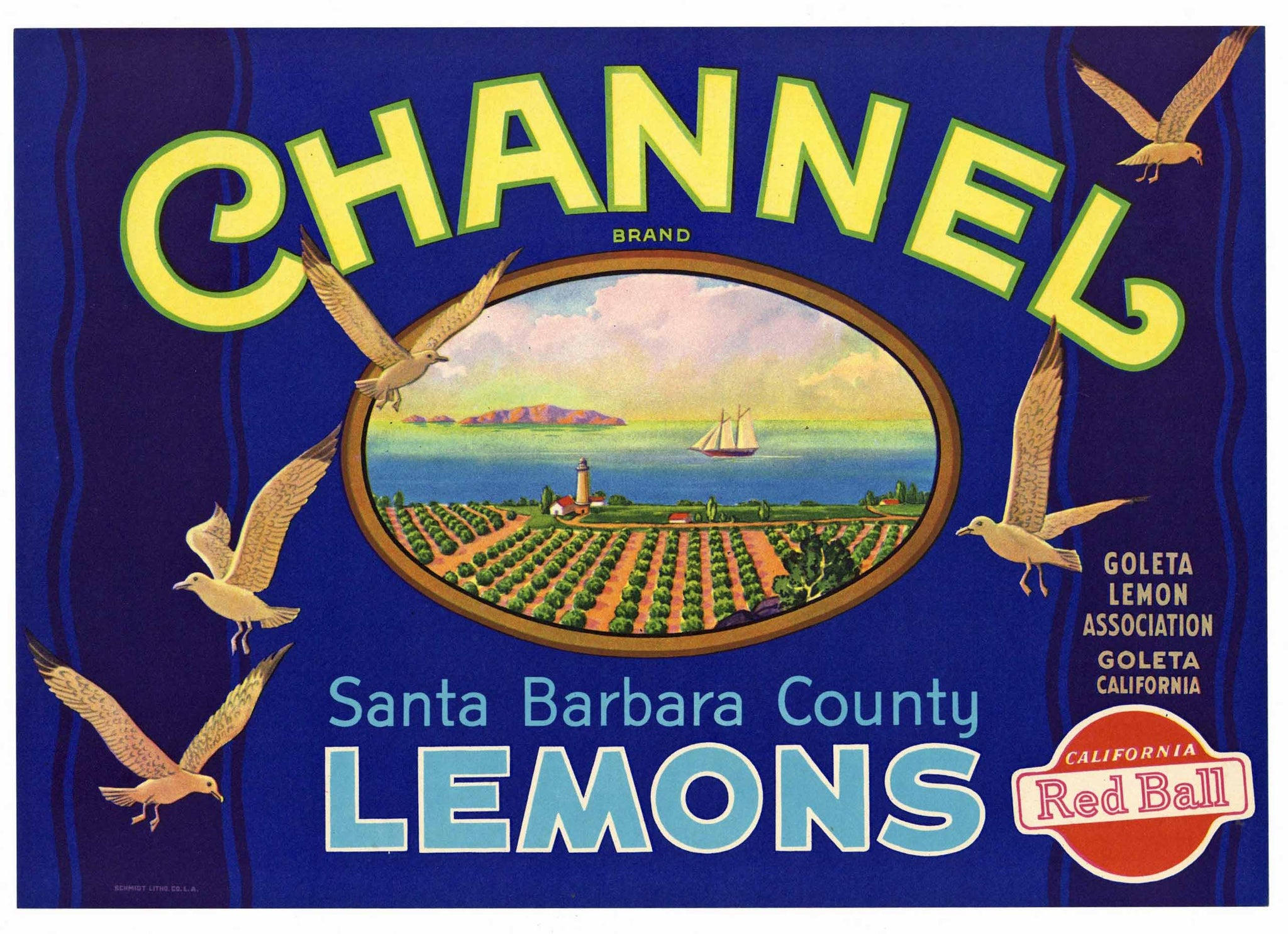Channel Brand Vintage Santa Barbara County Lemon Crate Label