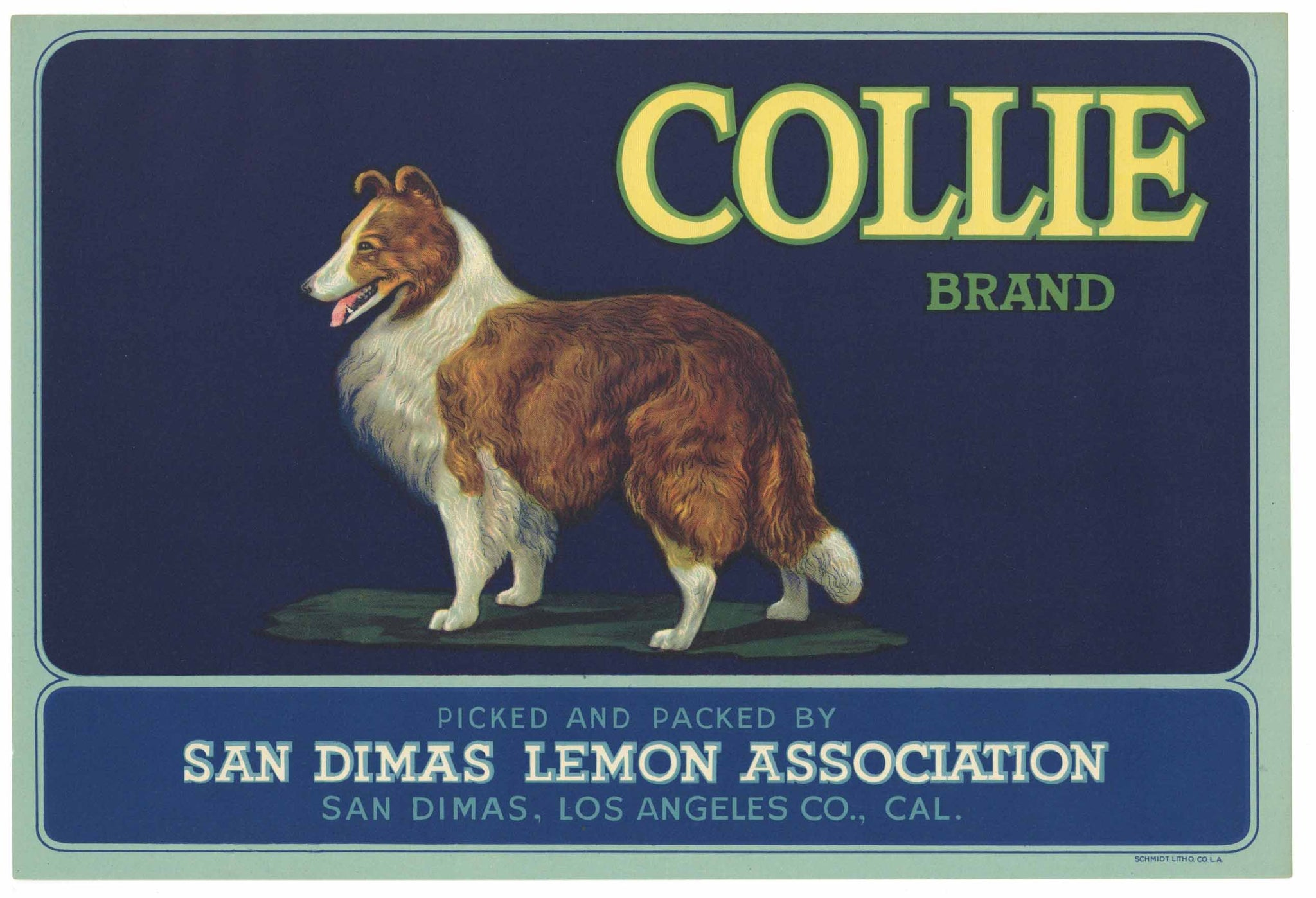 Collie Brand Vintage San Dimas Lemon Crate Label