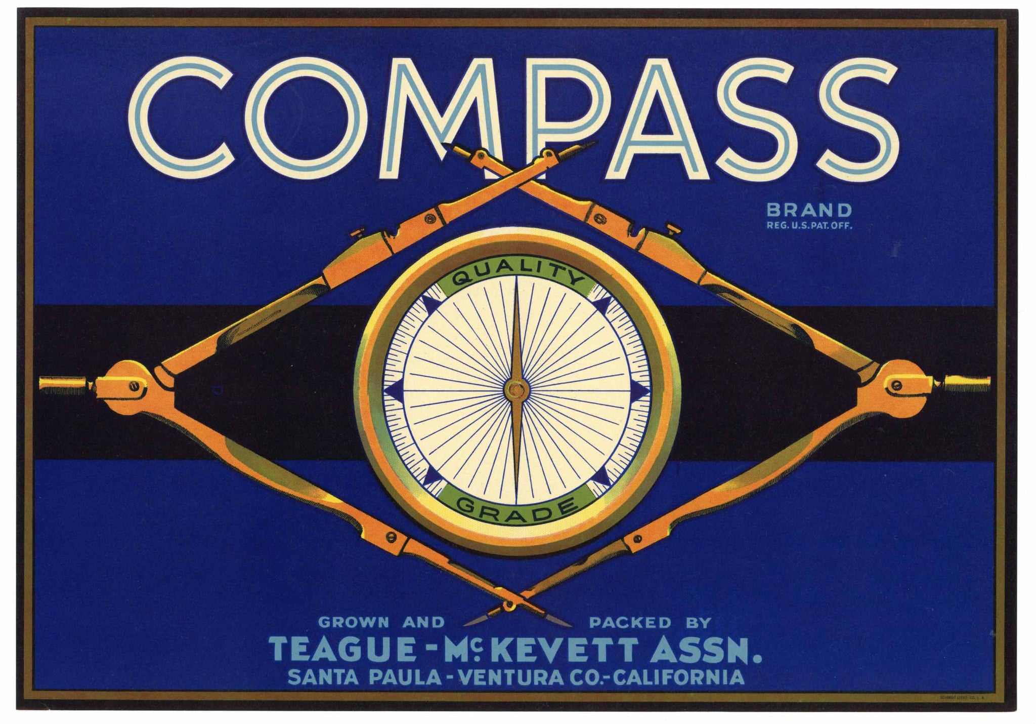Compass Brand Vintage Santa Paula Lemon Crate Label