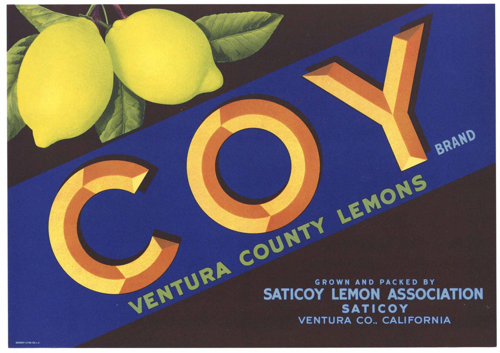 Coy Brand Vintage Ventura County Lemon Crate Label
