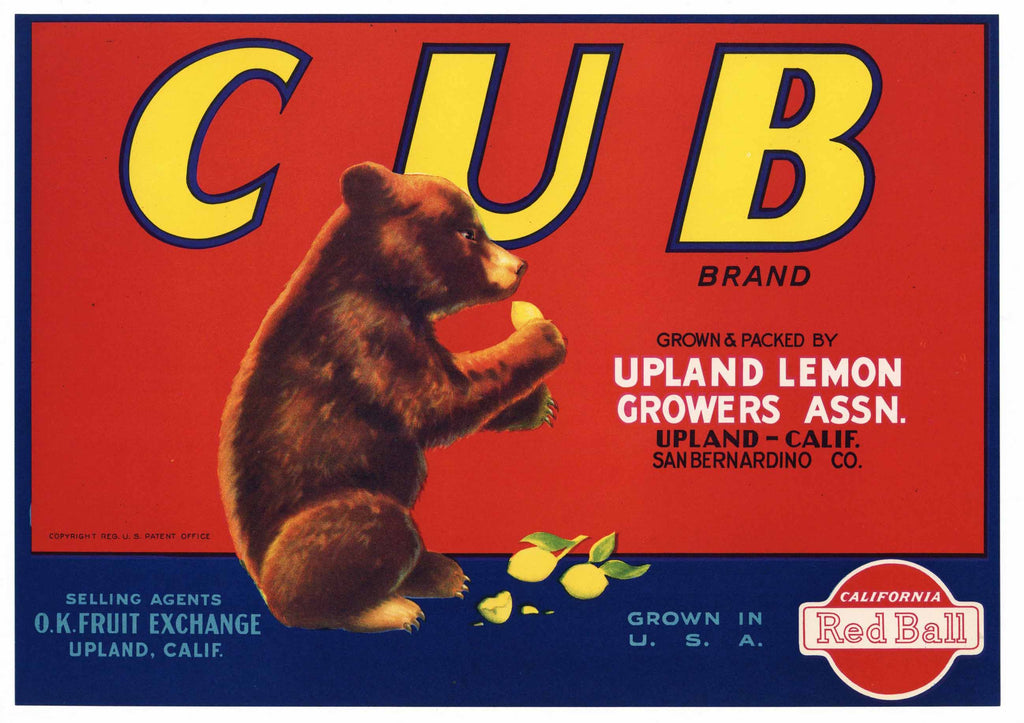 Cub Brand Vintage Upland Lemon Crate Label