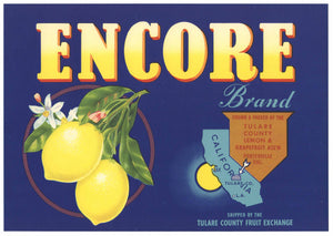 Encore Brand Vintage Tulare County Lemon Crate Label