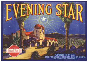 Evening Star Brand Vintage San Fernando Lemon Crate Label