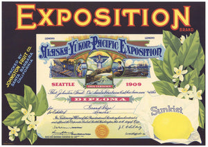 Exposition Brand Vintage Santa Barbara Lemon Crate Label