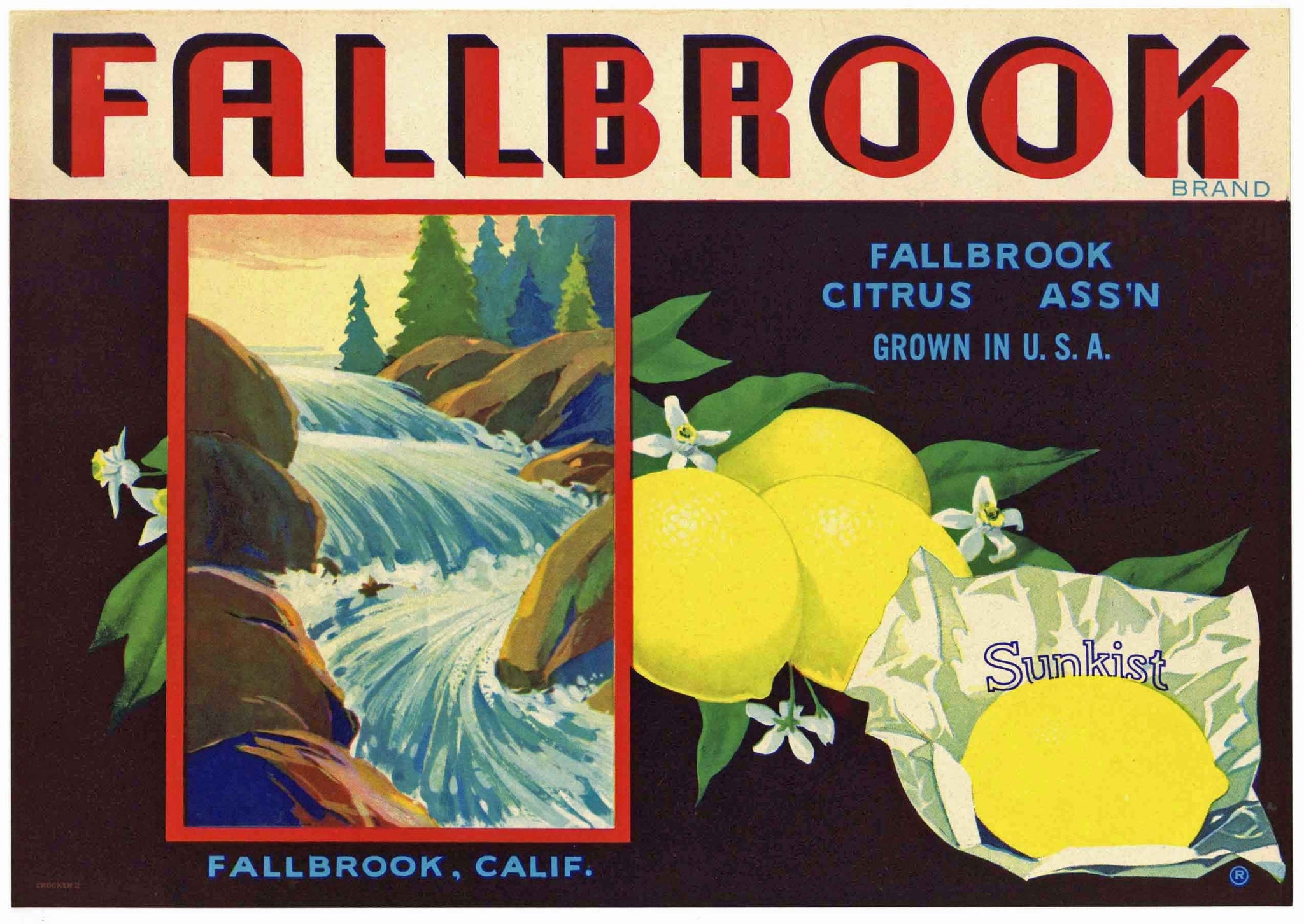 Fallbrook Brand Vintage Lemon Crate Label