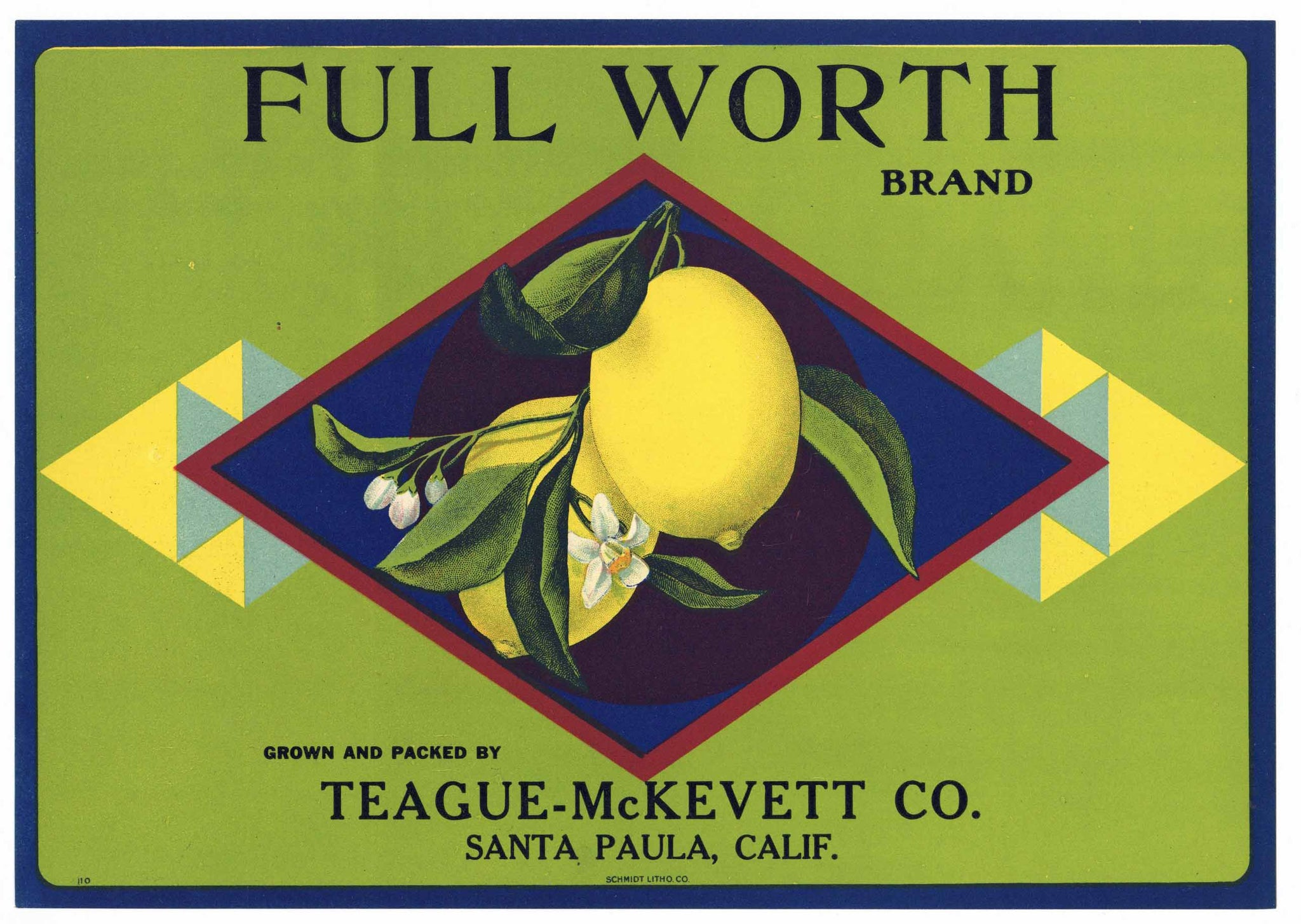 Full Worth Brand Vintage Santa Paula Lemon Crate Label