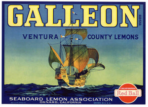 Galleon Brand Vintage Oxnard Lemon Crate Label