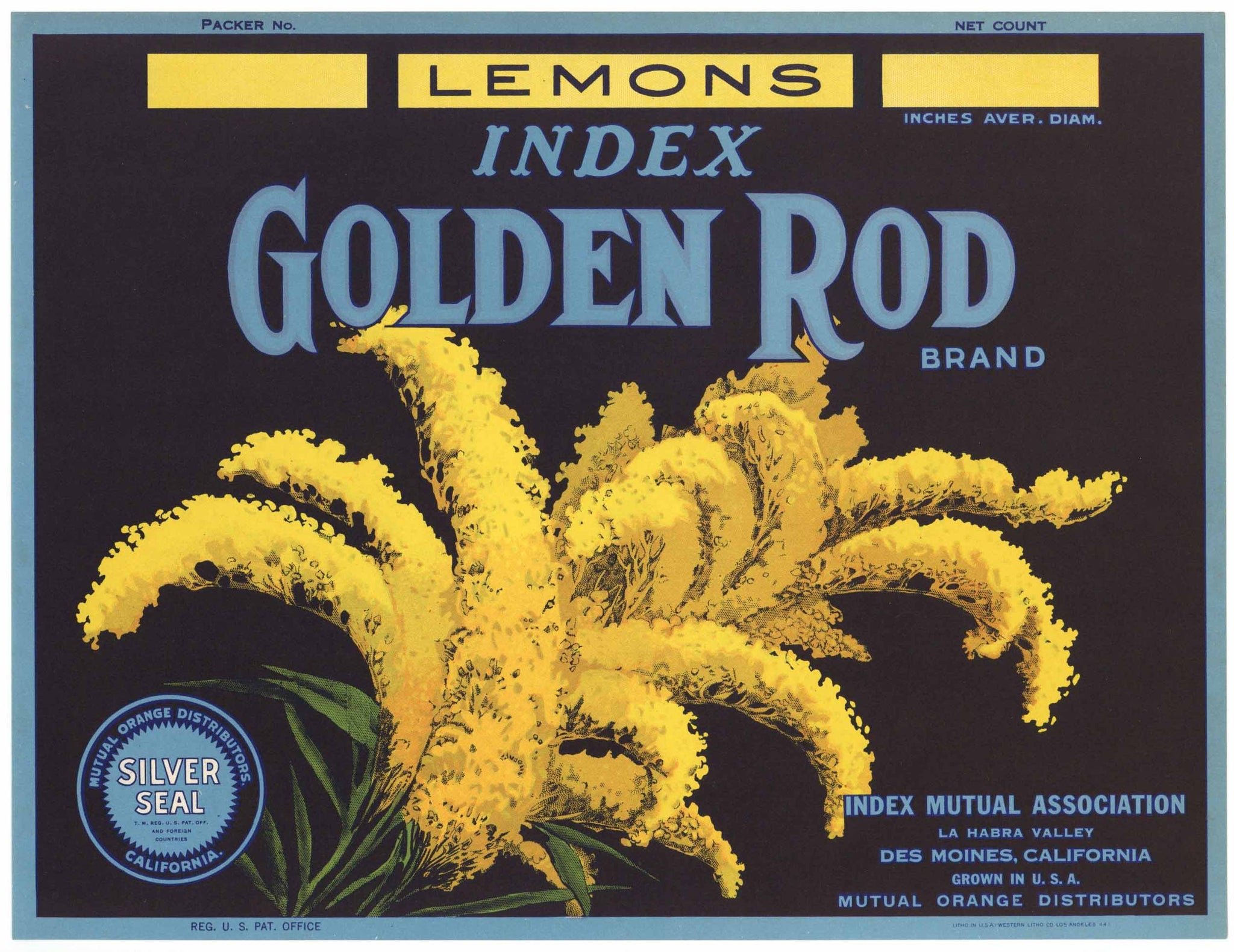 Golden Rod Brand Vintage La Habra Valley Lemon Crate Label