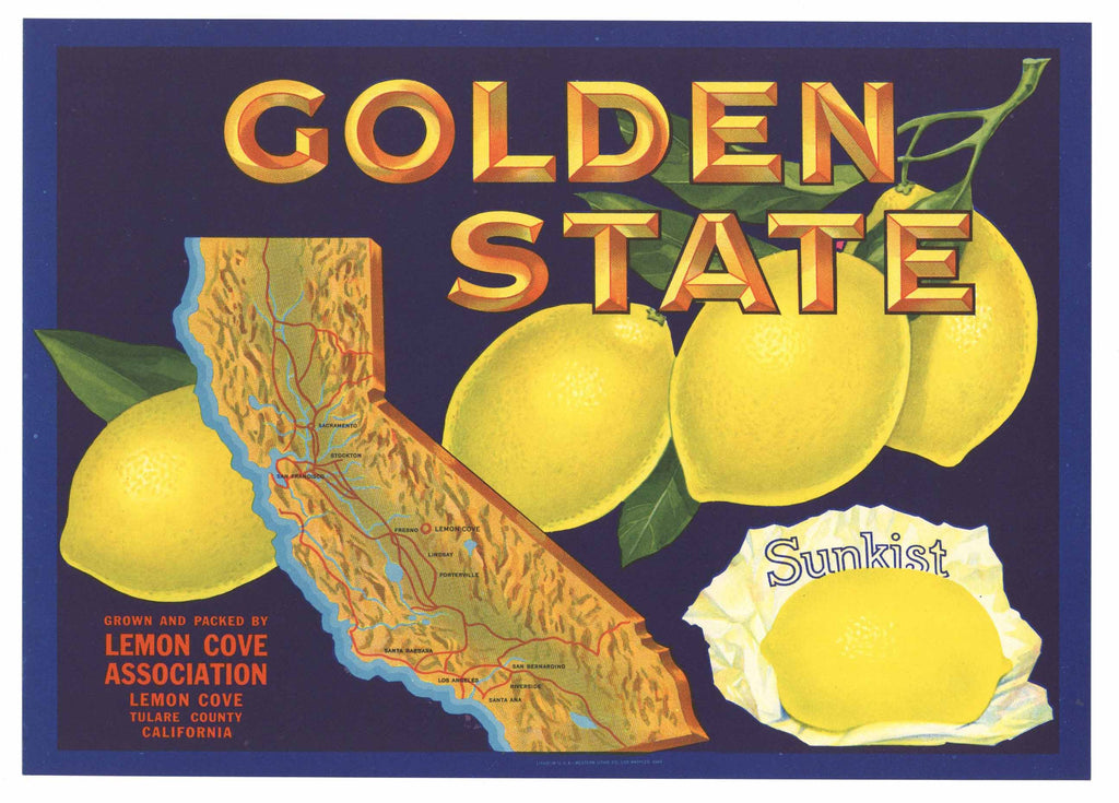 Golden State Brand Vintage Tulare County Lemon Crate Label