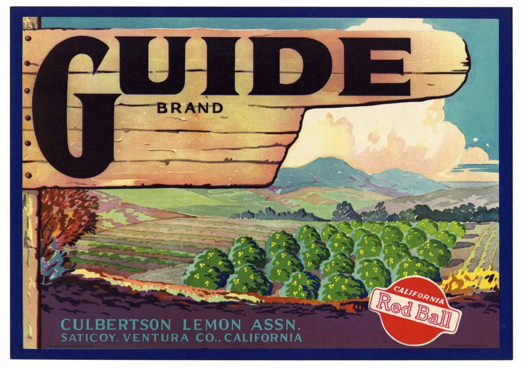 Guide Brand Vintage Ventura County Lemon Crate Label