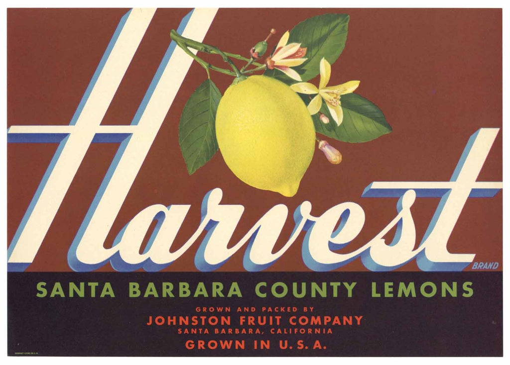 Harvest Brand Vintage Santa Barbara Lemon Crate Label