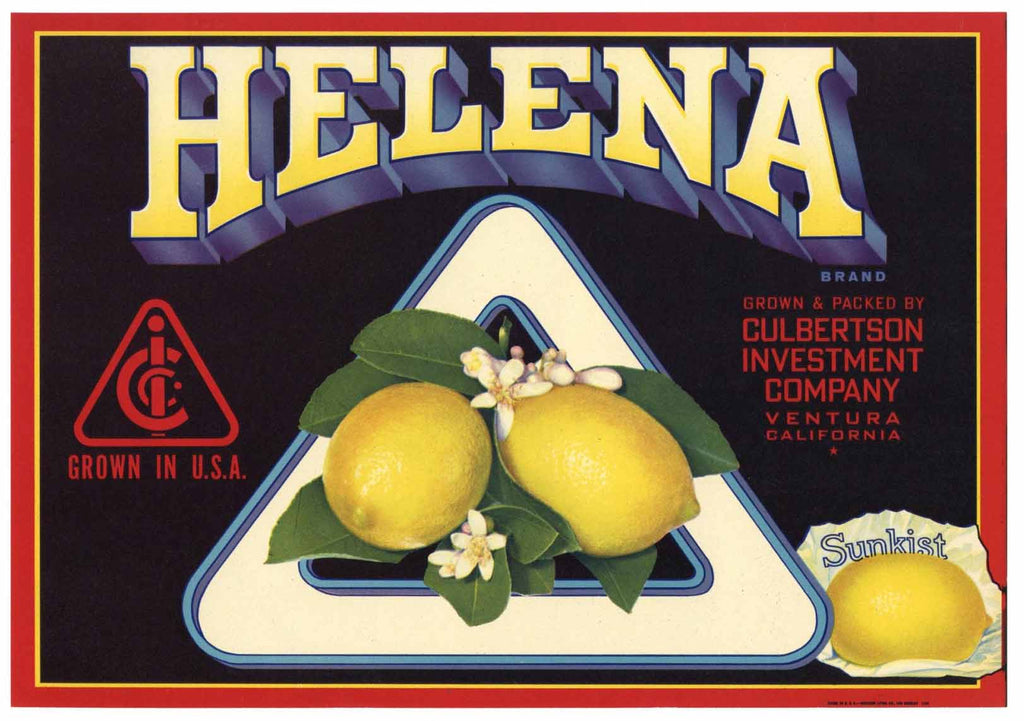 Helena Brand Vintage Ventura County Lemon Crate Label