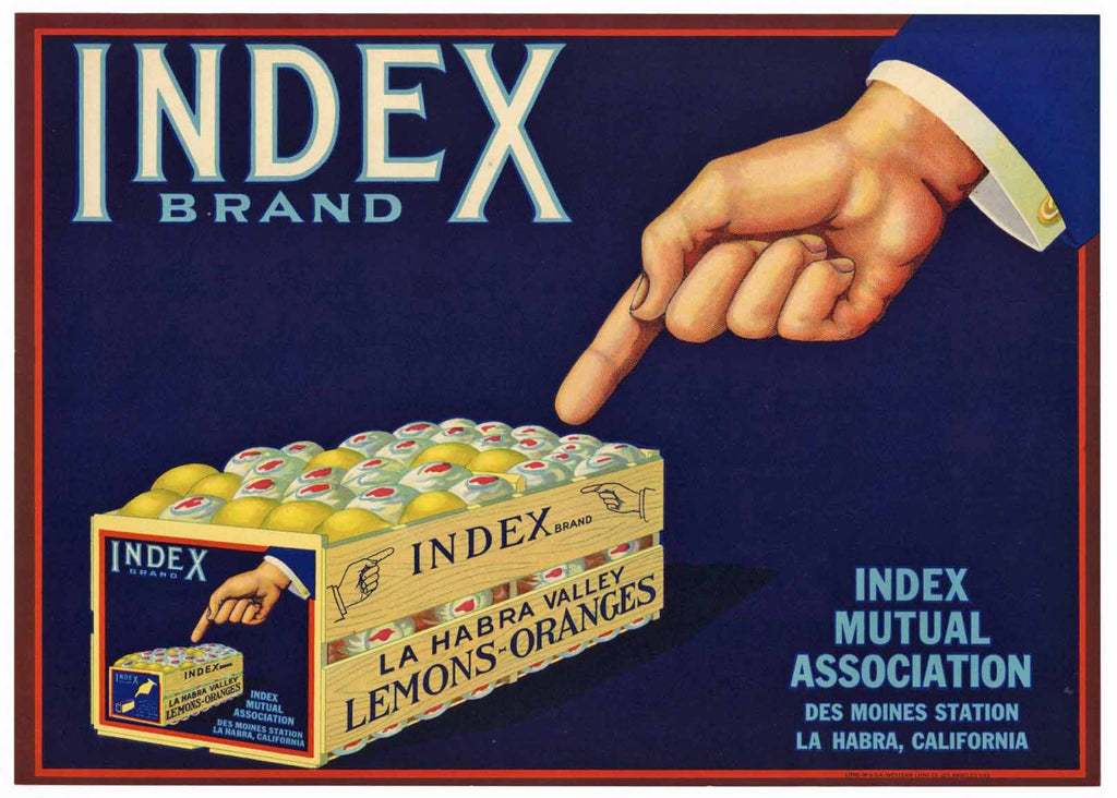 Index Brand Vintage La Habra Lemon Crate Label