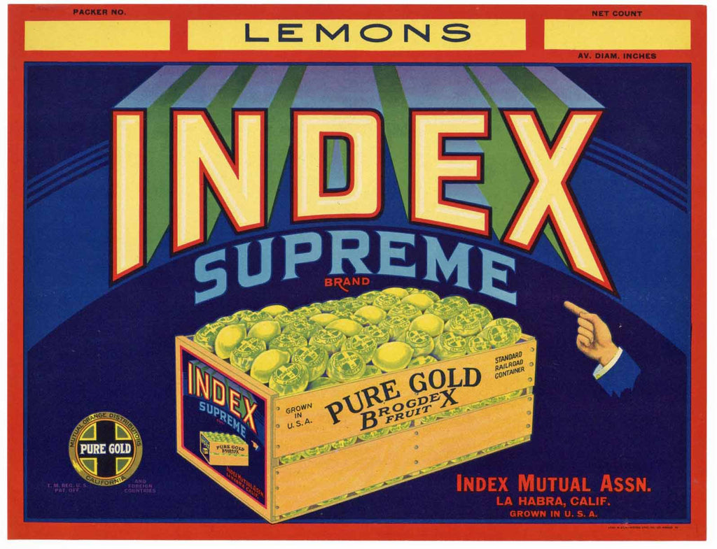 Index Supreme Brand Vintage La Habra Lemon Crate Label