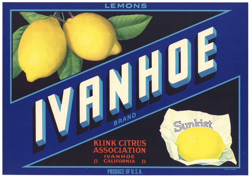 Ivanhoe Brand Vintage Tulare County Lemon Crate Label