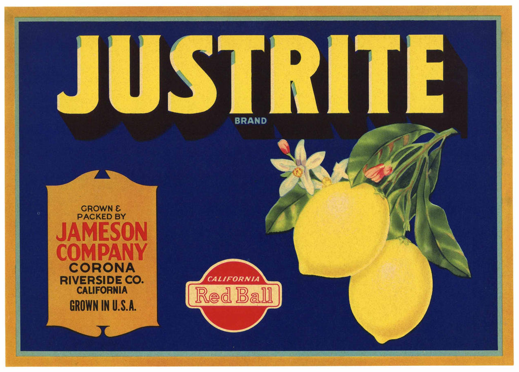 Justrite Brand Vintage Riverside County Lemon Crate Label