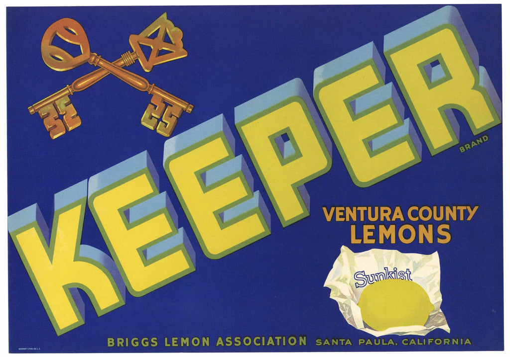 Keeper Brand Vintage Ventura County Lemon Crate Label
