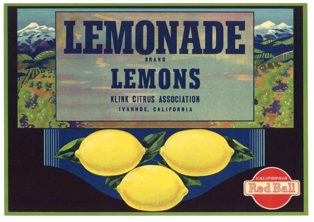 Lemonade Brand Vintage Ivanhoe Lemon Crate Label, n