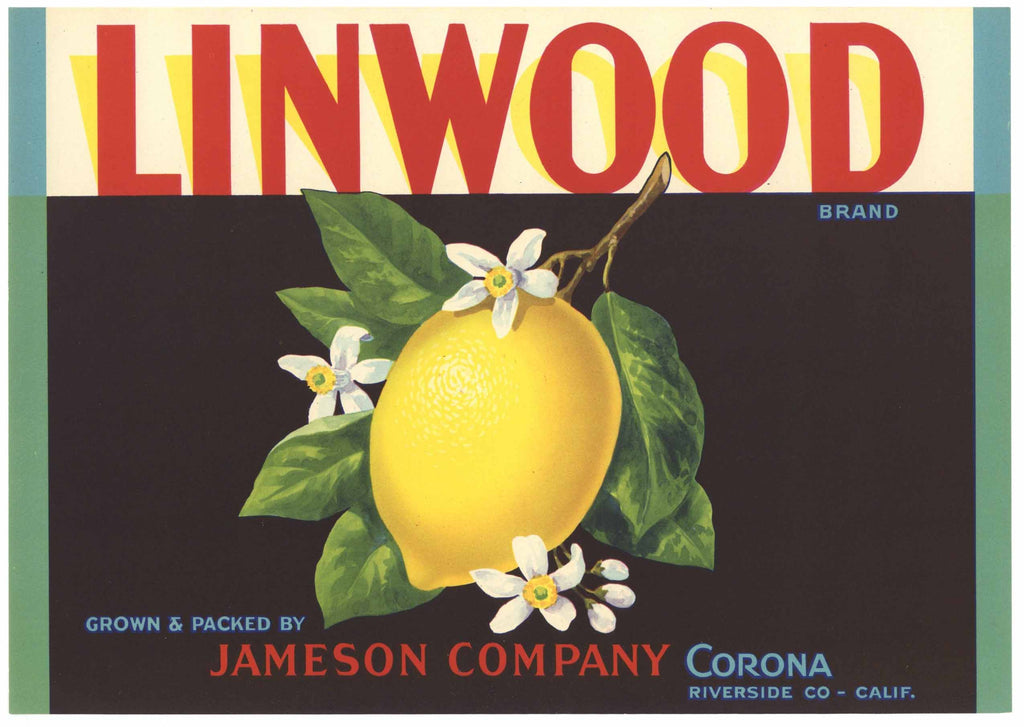 Linwood Brand Vintage Riverside County Lemon Crate Label