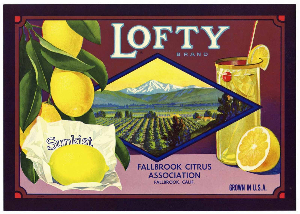 Lofty Brand Vintage Fallbrook Lemon Crate Label