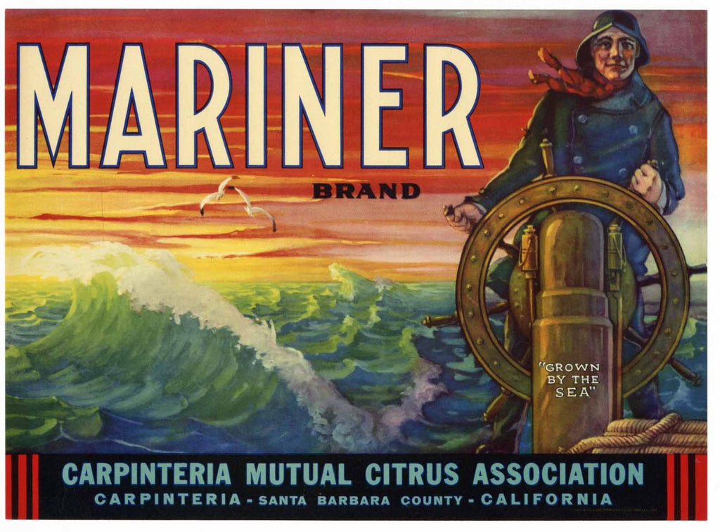 Mariner Brand Vintage Carpinteria Lemon Crate Label