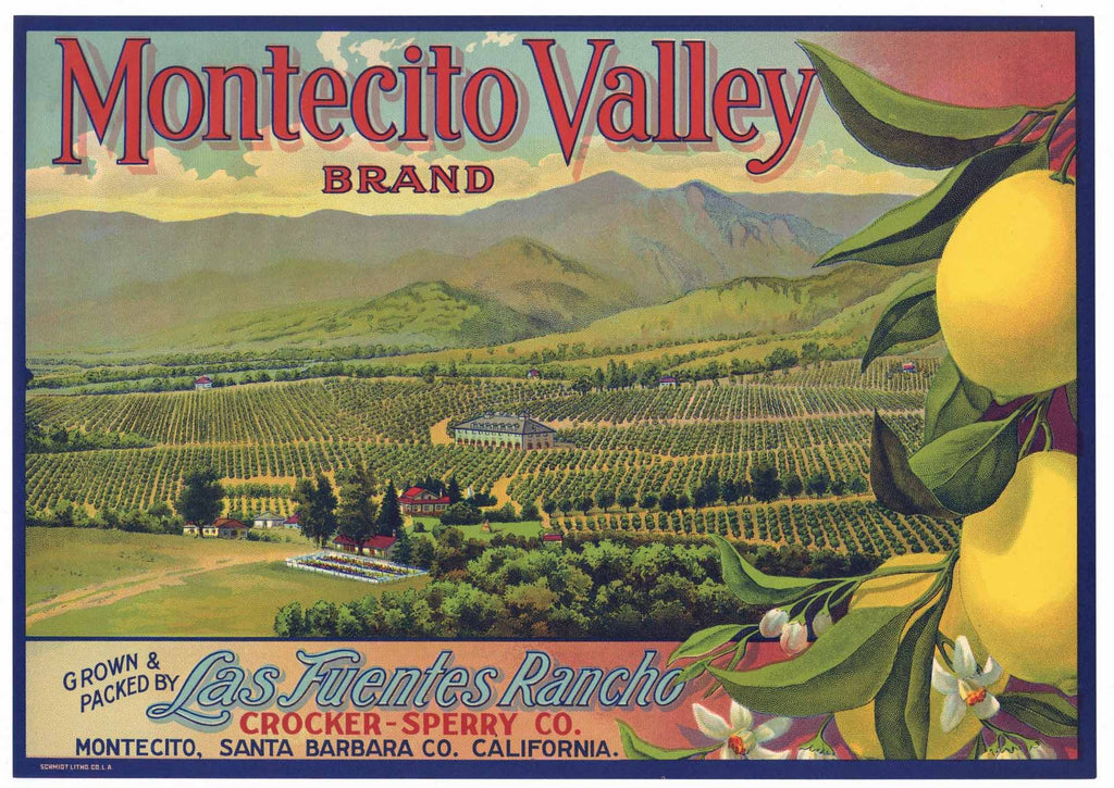 Montectio Valley Brand Vintage Lemon Crate Label