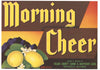 Morning Cheer Brand Vintage Porterville California Lemon Crate Label