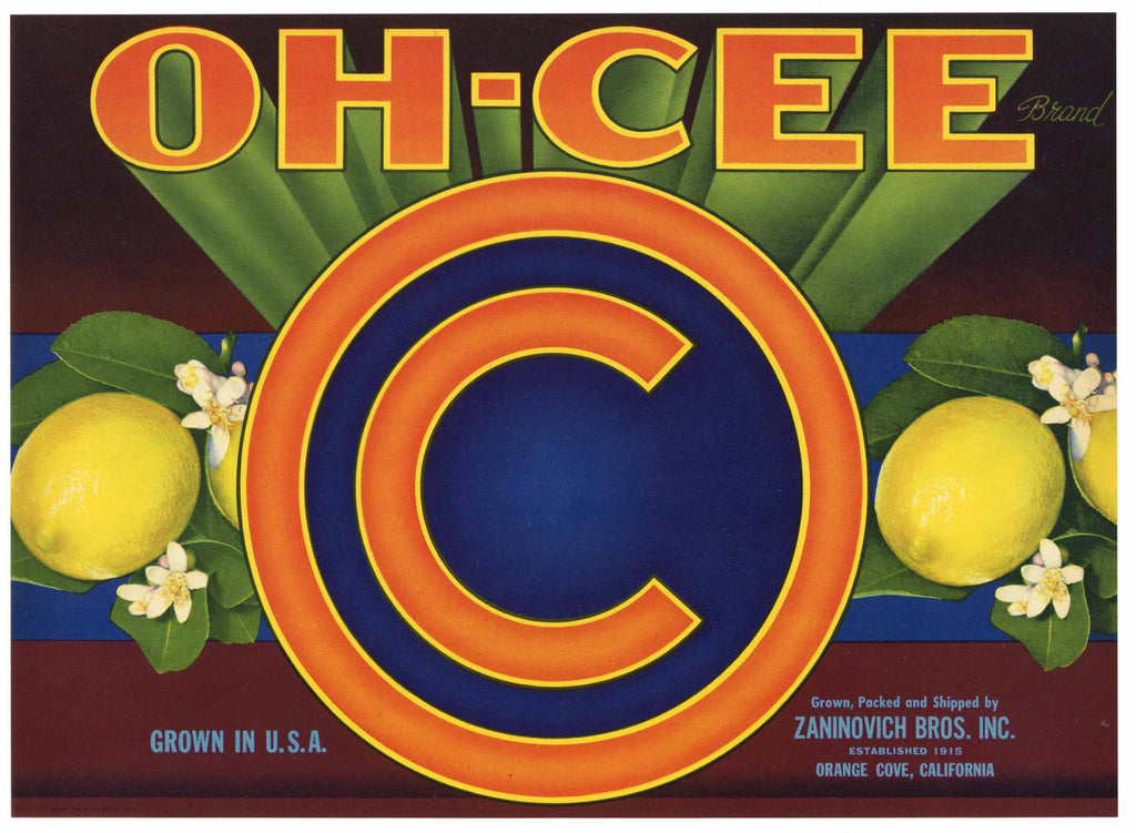 Oh Cee Brand Vintage Tulare County Lemon Crate Label