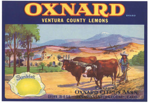 Oxnard Brand Vintage Lemon Crate Label
