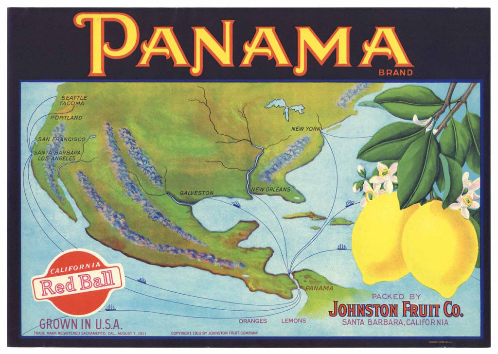 Panama Brand Vintage Santa Barbara Lemon Crate Label