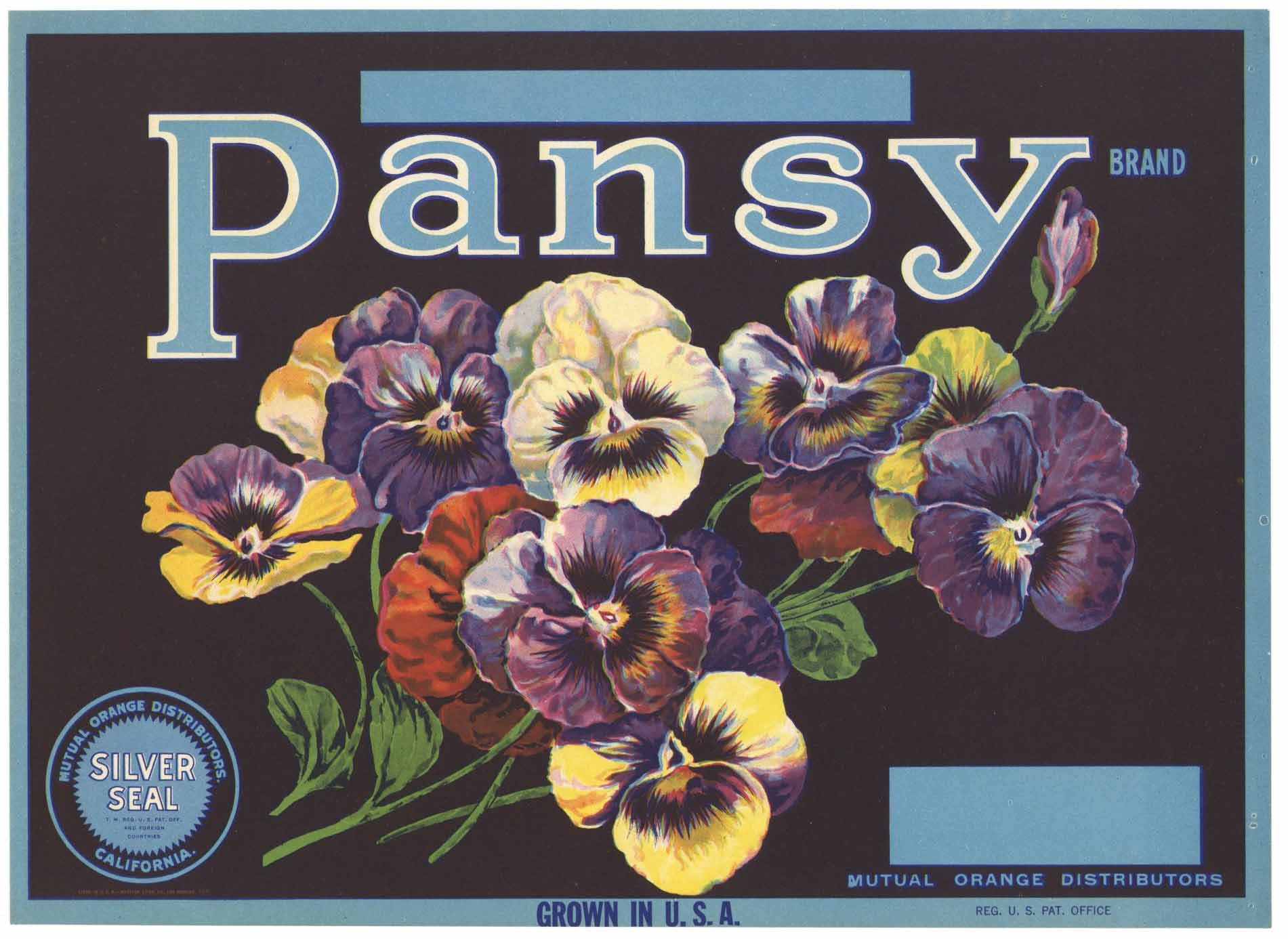 Pansy Brand Vintage Lemon Crate Label