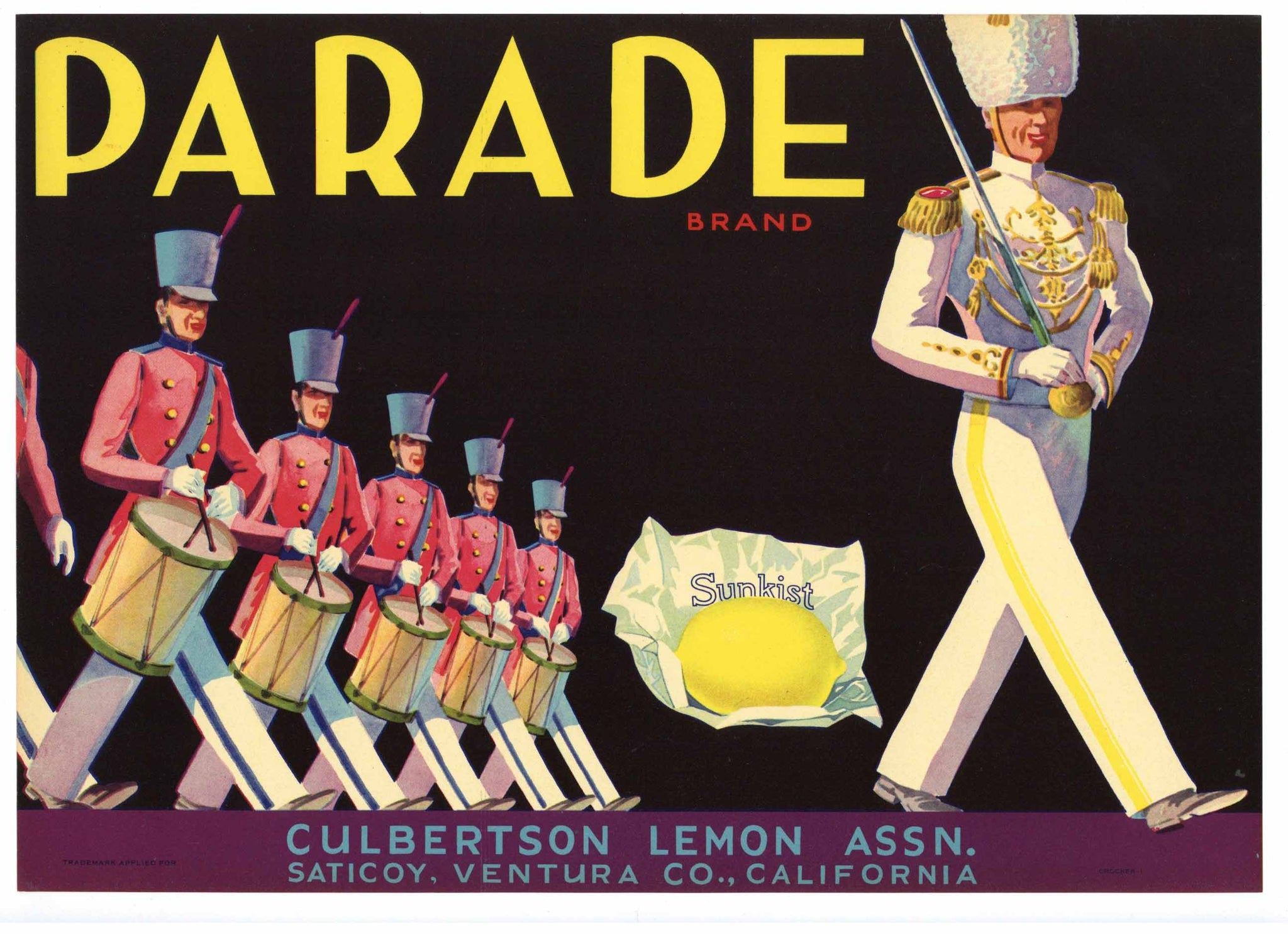 Parade Brand Vintage Ventura County Lemon Crate Label