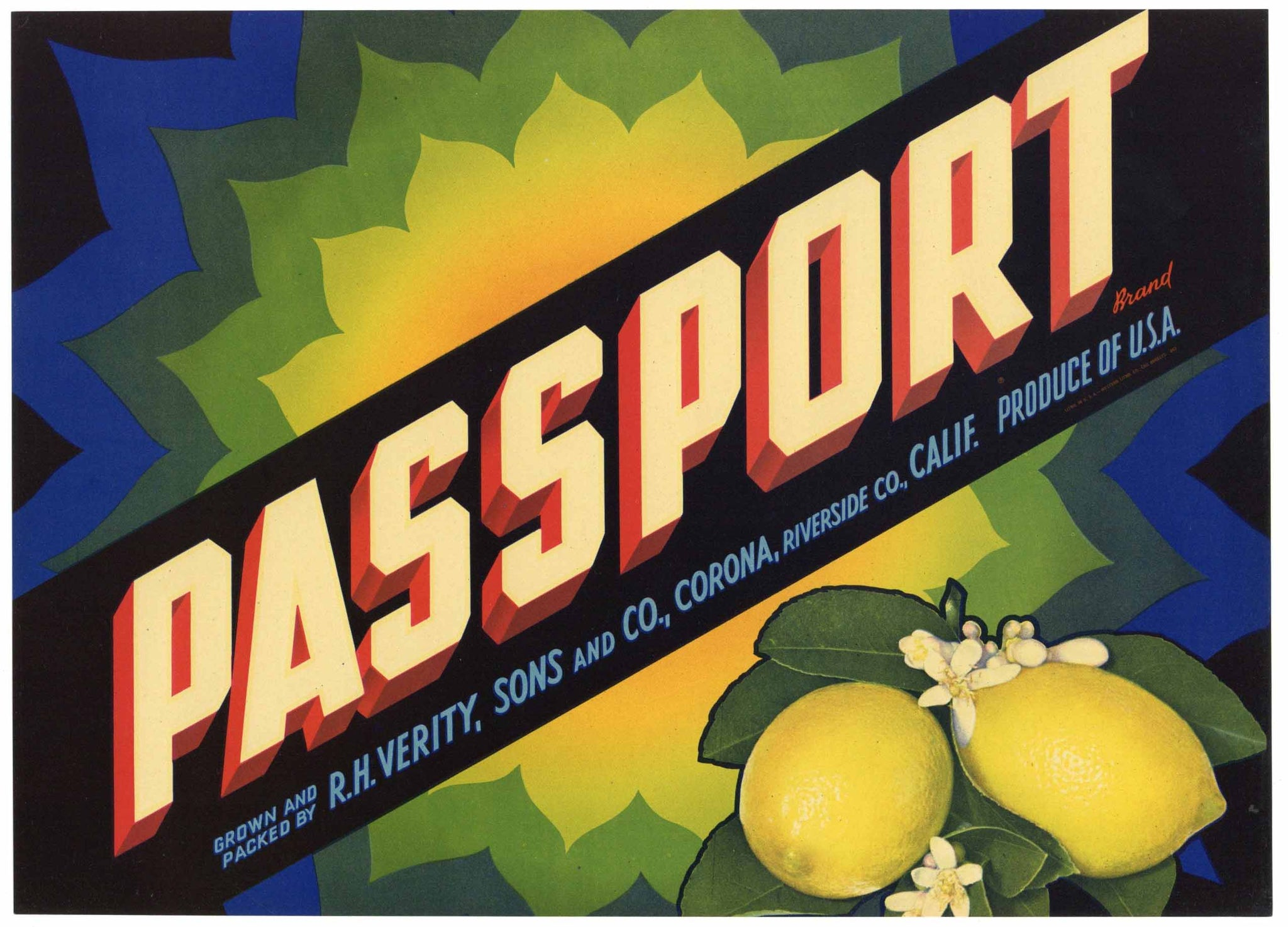 Passport Brand Vintage Corona Lemon Crate Label