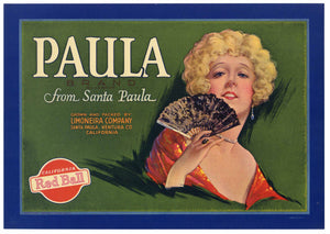 Paula Brand Vintage Ventura County Lemon Crate Label